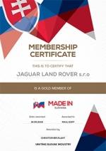 Jaguar Land Rover presented with Gold Member Status Certificate